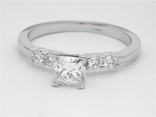 White Gold 0.49 Princess cut Side Stone Engagement Rings