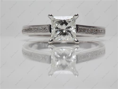 White Gold 1.21 Princess cut Channel Setting Engagement Ring