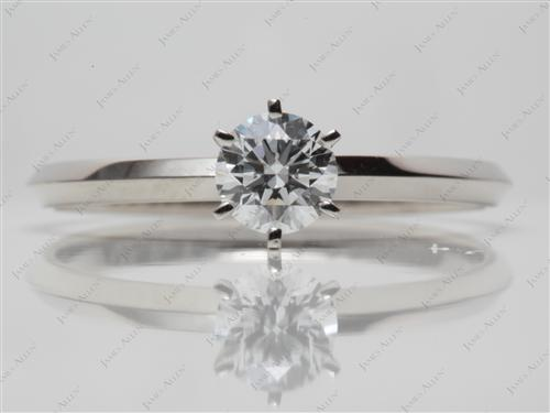 White Gold 0.72 Round cut Solitaire Rings