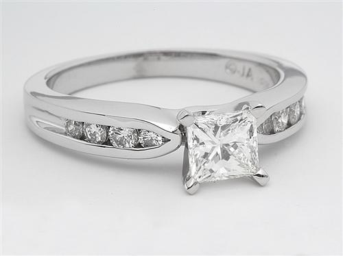 White Gold 0.77 Princess cut Sidestone Engagement Ring