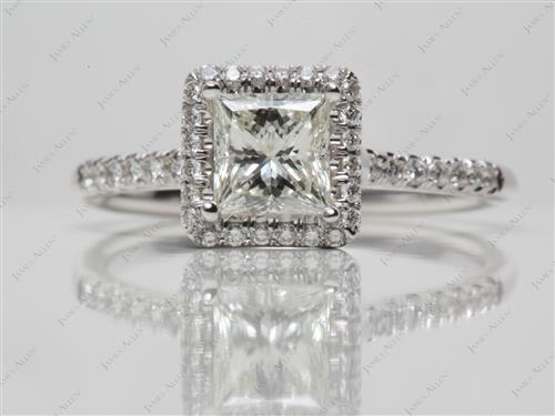 White Gold 0.85 Princess cut Pave Engagement Rings