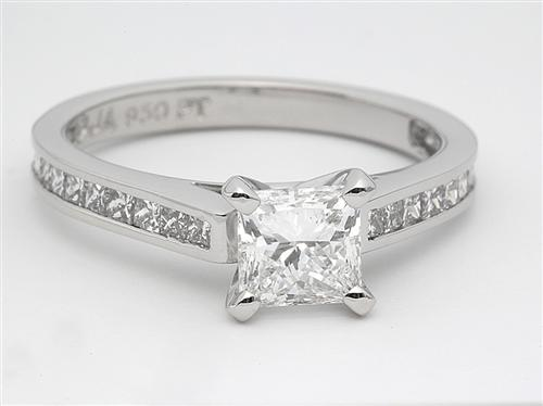 Platinum 1.07 Princess cut Diamond Ring With Side Stones