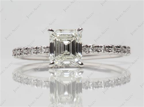 White Gold 1.10 Emerald cut Pave Diamond Rings