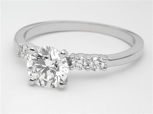 White Gold 0.95 Round cut Engagement Rings Side Stones