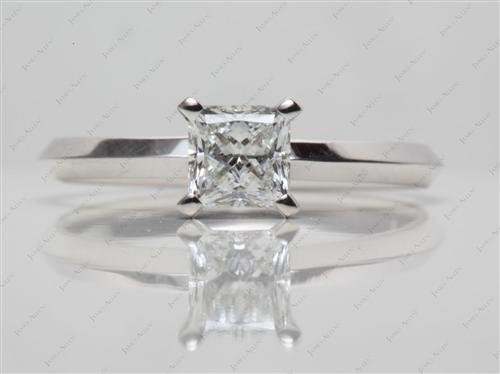 White Gold 0.63 Princess cut Solitaire Ring Setting