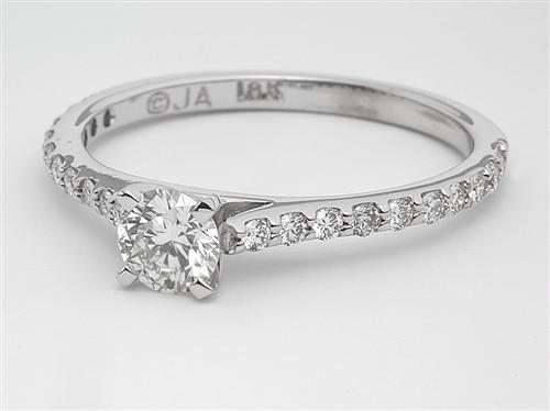 White Gold 0.47 Round cut Engagement Rings With Sidestones