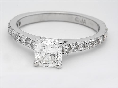 White Gold 1.03 Cushion cut Engagement Ring Side Stones