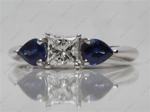 White Gold  Gemstone Engagement Rings