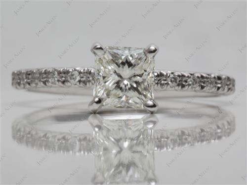 White Gold  Engagement Rings Pave