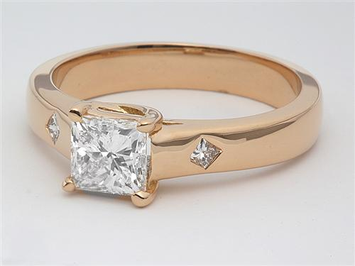 Gold 0.84 Princess cut Diamond Ring