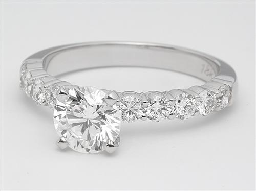 White Gold 0.82 Round cut Engagement Ring