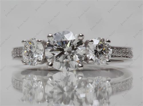 White Gold  Three Stones Ring
