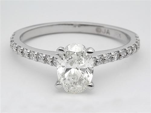 White Gold 1.52 Oval cut Engagement Ring With Side Stones
