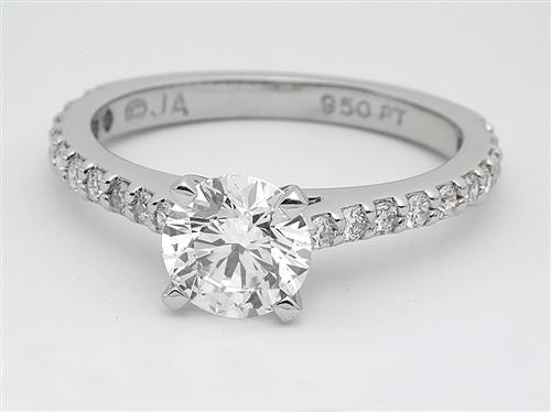 Platinum 1.02 Round cut Diamond Ring