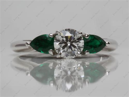 White Gold  Gem Stone Engagement Ring