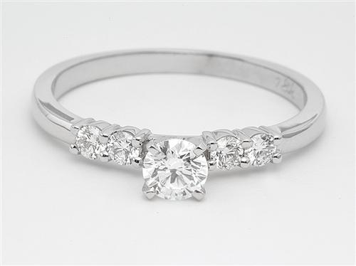 White Gold 0.30 Round cut Engagement Rings With Side Stones