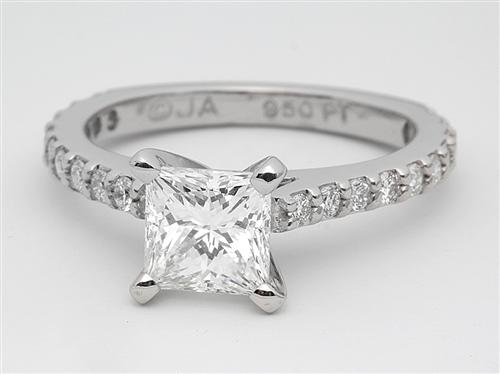 Platinum 1.09 Princess cut Engagement Rings Side Stones