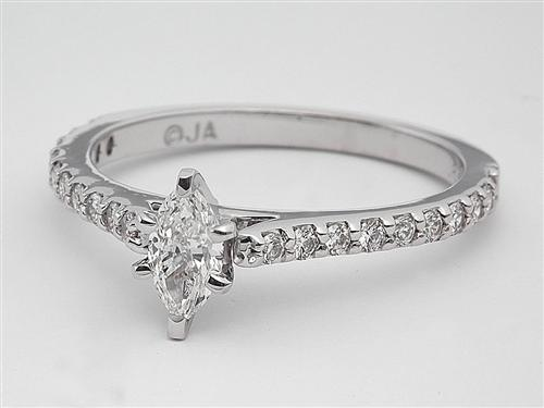 White Gold 0.32 Marquise cut Diamond Ring With Side Stones