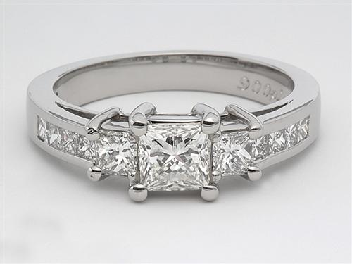 Platinum 0.61 Princess cut Diamond Ring With Sidestones