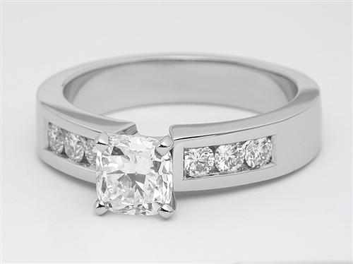 Platinum 1.02 Cushion cut Wedding Band Sets