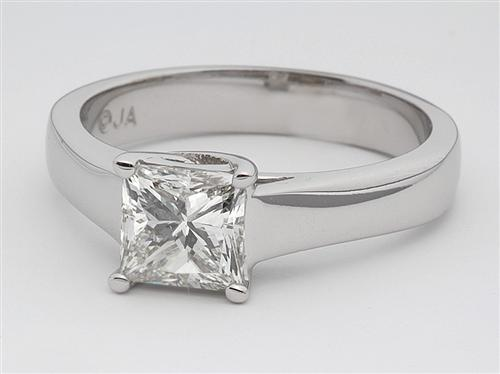 White Gold 1.03 Princess cut Solitaire Ring Mountings