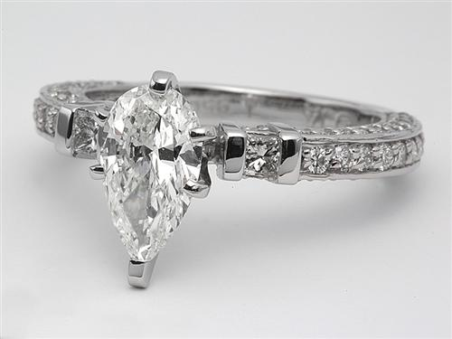 Platinum 1.20 Pear shaped Diamond Rings