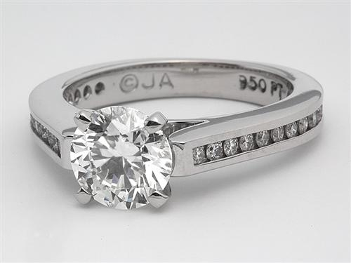 Platinum 1.08 Round cut Engagement Ring Settings With Side Stones