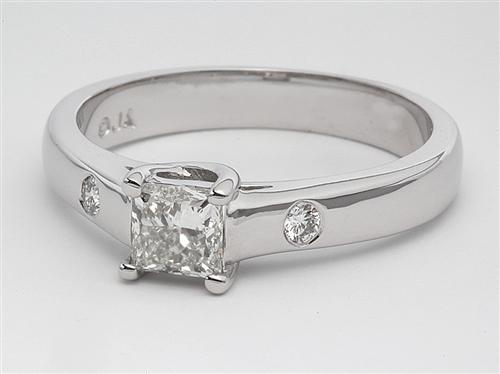 White Gold 0.57 Princess cut Solitaire Rings