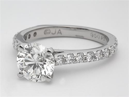 Platinum 1.55 Round cut Engagement Rings With Side Stones