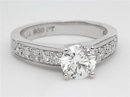 Platinum 1.02 Round cut Pave Diamond Rings