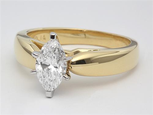 Gold 0.73 Marquise cut Engagement Ring