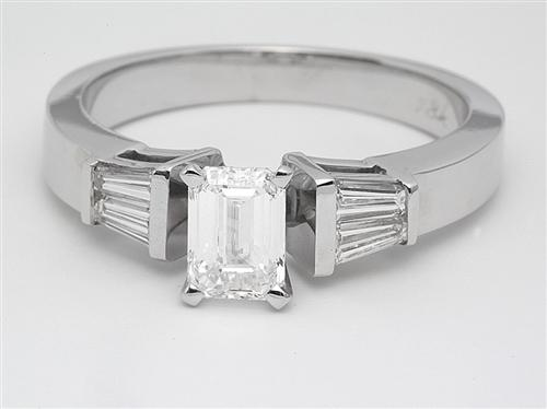 White Gold 0.70 Emerald cut Diamond Ring With Sidestones