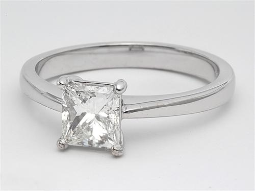 White Gold 1.00 Princess cut Solitaire Diamond Ring