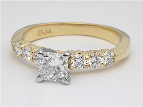Gold 0.70 Princess cut Engagement Ring With Side Stones