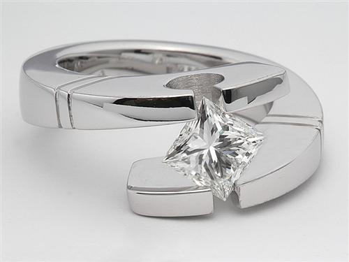 White Gold 0.97 Princess cut Tension Mount Engagement rings