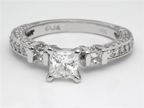 White Gold 0.71 Princess cut Pave Ring