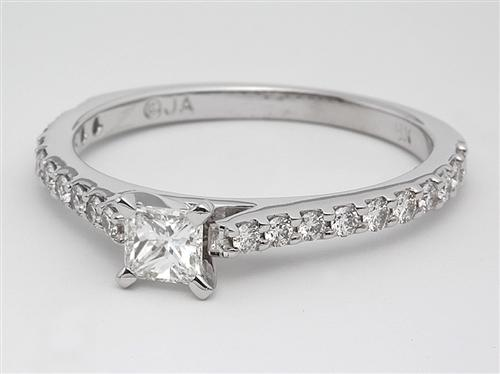 White Gold 0.30 Princess cut Engagement Rings Side Stones