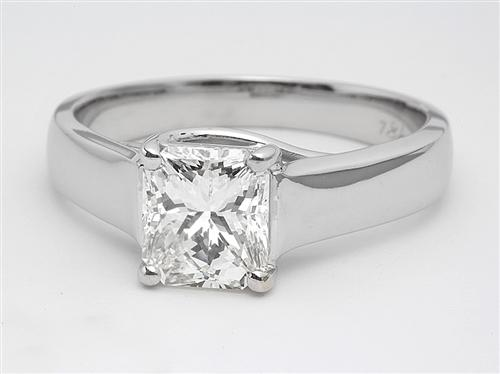 White Gold 1.52 Radiant cut Solitaire Rings