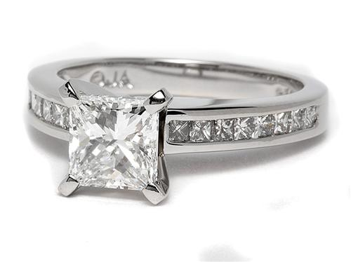 Platinum 1.50 Princess cut Engagement Ring Settings With Side Stones