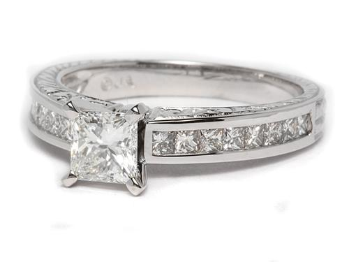 White Gold 0.71 Princess cut Diamond Wedding Rings