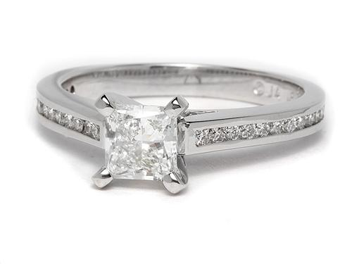 White Gold 0.81 Princess cut Diamond Ring With Side Stones