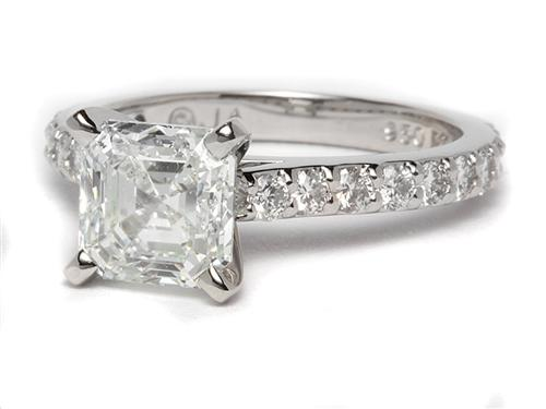 Platinum 1.85 Asscher cut Side Stone Engagement Ring