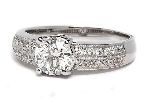 White Gold 0.90 Round cut Pave Ring Setting