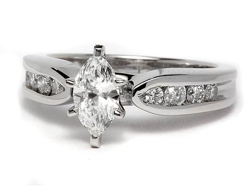 Platinum 0.42 Marquise cut Engagement Rings With Side Stones