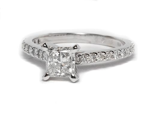 White Gold 0.90 Princess cut Engagement Ring Settings With Side Stones
