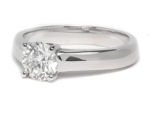 White Gold 0.86 Round cut Solitaire Ring