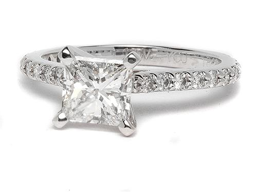 White Gold 1.01 Princess cut Diamond Rings