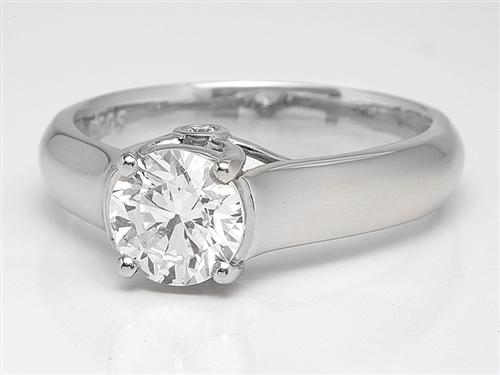 Platinum 0.99 Round cut Diamond Engagement Solitaire Rings