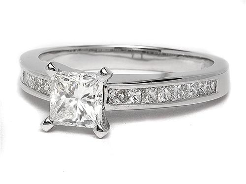 White Gold 1.02 Princess cut Engagement Rings Side Stones