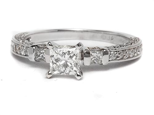 White Gold 0.83 Princess cut Pave Engagement Rings